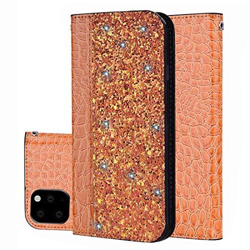 KIOKIOIPO-N Mode Krokodil Textur Glitter Puder Horizontal Flip Ledertasche mit Kartensteckplätzen...