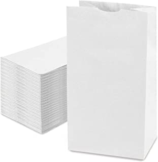 Fit Meal Prep [125 Pack] 20 LB 16 x 8 x 5.5 Heavy Duty White Paper Bags Grocery Lunch Retail Shopping Durable Bleached Bar...