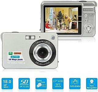 Cámara Digital de Alta definición 8X de Zoom Macro Ajustable Pantalla a Color TFT de 27 Pulgadas cámara portátil y grabadora de Video Adecuado para niños/PrincipiantesPlata