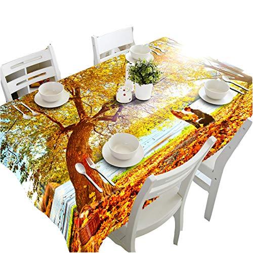 HUANZI Tischtuch Tischdecken 3D Ostern Ahornblätter Strand Staub Und Umweltschutz TischwäSche Moderne Rechteckigen Tischdecke, Color, 70cmx150cm