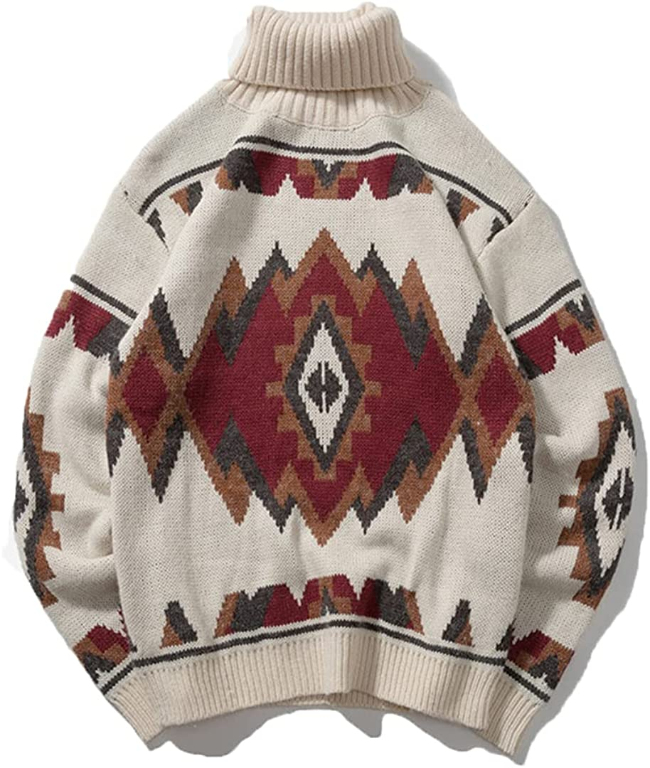 Men's Sweater Turtleneck Autumn Knitted Sweaters Casual Loose Vintage Pullover