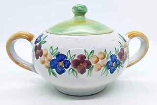 Zuccheriera Linea Verde Fiori Multicolore Realizzata e Dipinta a mano Le Ceramiche del Castello Made in Italy 16 x 9 cm