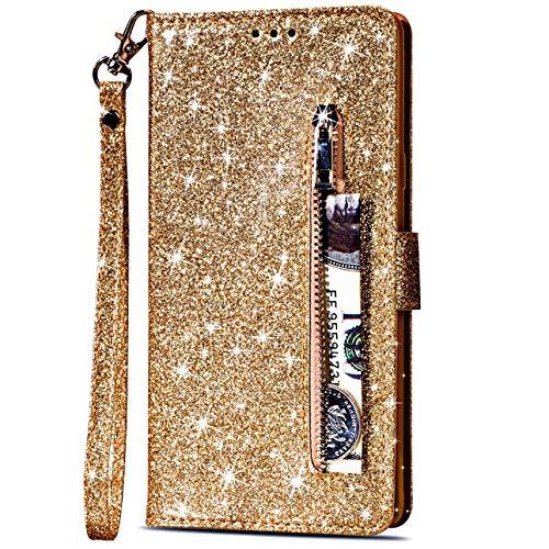 Vepbk für Samsung Galaxy A51 5G Hülle, Lederhülle Schutzhülle Handyhülle Leder Handytasche Case Hülle Glitzer mit Kartenfach Geldbörse Magnet Brieftasche Etui Flip Cover für Galaxy A51 5G,Gold