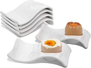 Egg Cups Serving Hard and Soft Boiled Eggs Ceramic Holder with Spoon Stand Decoration for Breakfast and Brunch, Set of 6, White Porcelain
