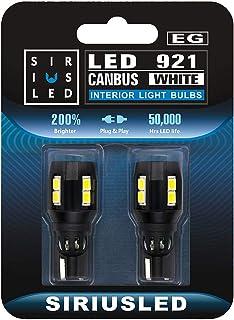 SiriusLED Backup Reverse Light Canbus error free LED Bulb Size 921 Super Bright 3030 SMD Xenon White 6000k Pack of 2