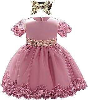 FYMNSI Baby Mädchen Erstes Geburtstagskleid Taufkleid Kurzarm Spitzenkleid Pailletten Schleife Tütü Tüll Abendkleid Festkleid Hochzeit Kleid mit Stirnband Set für 6-24 Monate