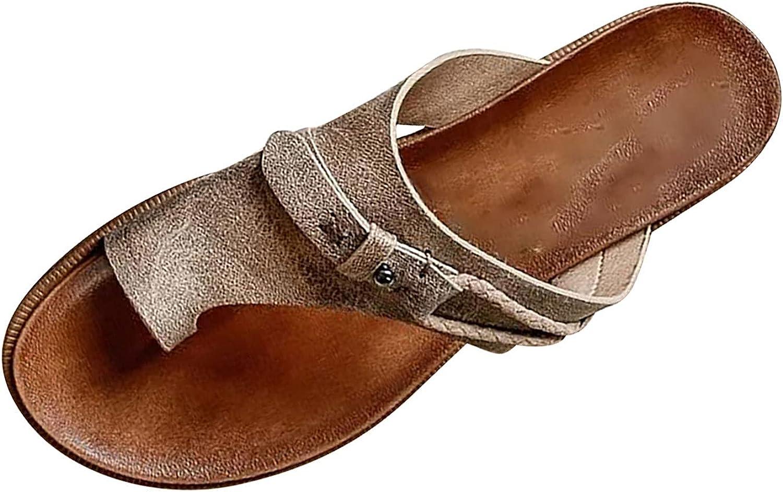 Flat Sandals for Women Summer Orthopedic Leather Slippers Casual Open Toe Ring Slides Vintage Comfort Outdoor Flip Flop Sandals