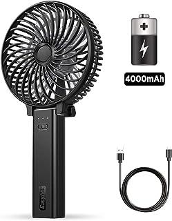 EasyAcc Ventiladores USB 4000 mAh Portatil Recargable Bateria Ventilador Actualizar 23 Horas Recordatorio Batería Escritorio Silencioso con Asa Plegable para Hogar y Viajes–Negro