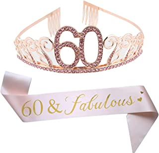 60th Birthday Pink Tiara and Sash, Glitter Satin Sash and Crystal Rhinestone Tiara Crown for Happy 60th Birthday Party Supplies Favors Decorations Cake Topper