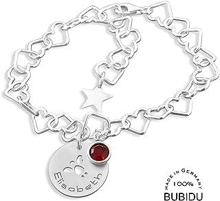 925 SILBER KINDERARMBAND GRAVUR GEBURTSSTEIN Taufe Stern Armband Sternzeichen