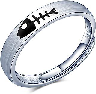 CPSLOVE Parring för kvinnor och män, vigselring i 925 sterling silver, justerbar öppen ring, söt kattunge och fisk förlovn...