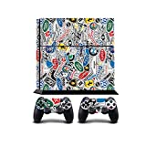 StickerBomb Car Company Logos Print PS4 PlayStation 4 Vinyl Wrap / Skin / Cover for Sony PlayStation 4 Console and PS4 Controllers