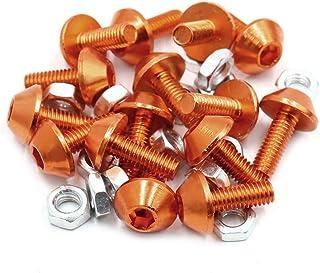 Uxcell a17061900ux1496 M6 Aluminiumlegierung, Sechskantkopfschrauben, Motorradschrauben, Muttern, Orange, 15 Stück