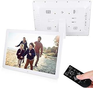 17Inch 1440 * 900 Touch HD Digital Photo Picture Frame Alarm Clock Player Album Remote Control 110‑240V (White)