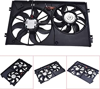Car Dual Radiator Condenser Cooling Fan Assembly Low Noise Replacement Electric Radiator Fan Assembly Black fit for Volkswagen Beetle Golf Jetta Rabbit 2.0L 2.5L 1K0959455N 1K0959455DH 1K0959455FJ
