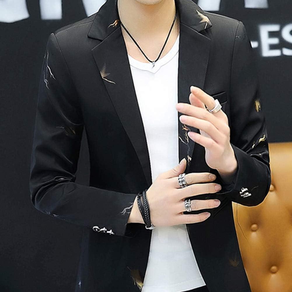 discountstore145 Fashion Men Printed Lapel One Button Slim Blazer Suit Jacket Coat