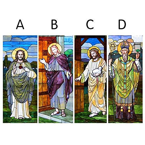 ZKAMANG Jesus-Fensterfilm, Christus-Gott-Glasfilme, Gefrostetes Beflecktes Cotholicism-Plakat, Unser Himmlischer Vater Stickers 40X100Cm C