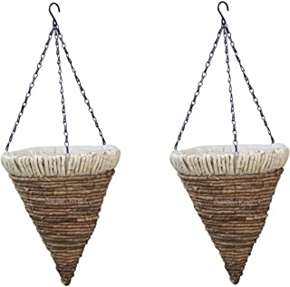 GARDEN KING 12 Inch Cone Design Natural Hanging Basket Woven On Metal Frame Lined with Plastic Lining (Set of 2)