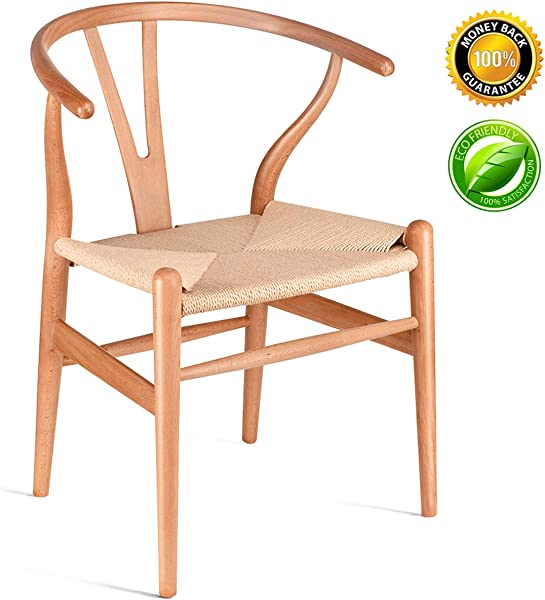 Solid Wood Dining Chair Wishbone Chair Rattan Armchair Y Chair Beech Natural Wood Color