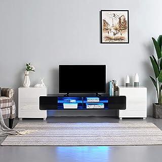 Meuble TV LED en MDF avec 4 Compartiments de Stockage + 2 Portes sur Salon et Chambre à Coucher, 230 x 35 x 53 cm (Noir+Bl...