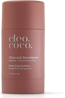 Cleo+Coco Natural Deodorant for Women, Aluminum Free made with Organic Coconut Oil, Activated Charcoal for 24-Hour Odor Pr...