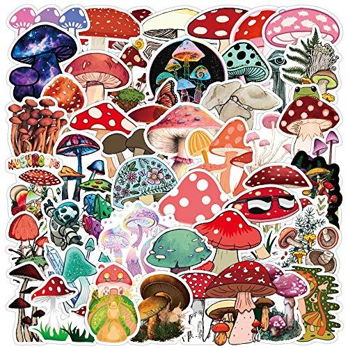 50PCS Cute Plant Mushroom Stickers Laptop Guitar Luggage Skateboard Car Waterproof Graffiti Sticker Funny Decal Kid Classic Toys