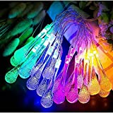 Waterproof Water Drop Fairy Crystal Lights String Light, for Wedding,Xmas Party ( 20LED,Warm White/Multivalor, Battery-Powered with 8 Modes, 11.5feet/3.5meters)