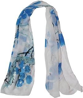 وشاح Allsee النسائي ذو الطراز الصيني الكلاسيكي طباعة الشيفون طويل الرقبة لتغطية الرأس