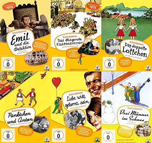 Erich Kästner - Die schönsten Klassiker EMIL & DIE DETEKTIVE + DAS FLIEGENDE KLASSENZIMMER + PÜNKTCHEN & ANTON + DAS DOPPELTE LOTTCHEN + DREI MÄNNER IM SCHNEE 6 DVD Collection