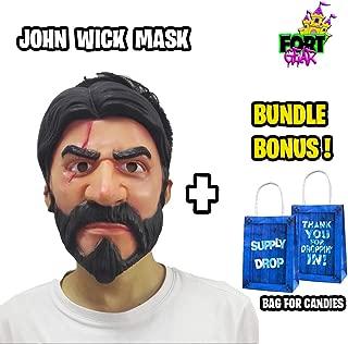 FortGear - Unisex John Wick Costume Latex Mask Helmet for Halloween Cosplay Game Party