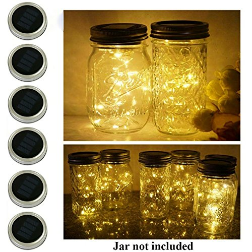 6 Pack Mason Jar Lights, 20 LED Solar Warm White Fairy String Lights Lids Insert for Garden Deck Patio Party Wedding Christmas Decorative Lighting Fit for Regular Mouth Jars