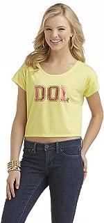 by Selena Gomez Junior's Cap Sleeve Crop Top, Yellow, Medium