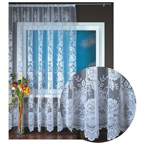 Gardine Jacquard Universalband Spitzenoptik Vorhang Blumenmuster weiß, Auswahl: 500 x 245 cm, Design: Thekla