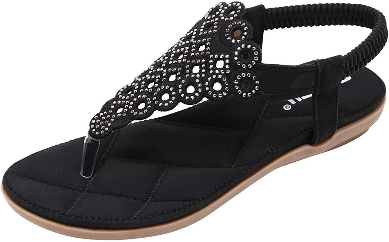 Women's Elastic Strappy String Thong Ankle Strap Summer Gladiator Sandals C Black US 6 (CN 37)