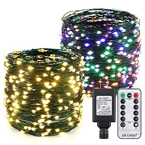 ER CHEN Color Changing LED String Lights Plug in with Remote Timer, 105Ft 300 LEDs Waterproof Green Copper Wire 8 Modes Christmas Fairy Lights for Bedroom, Patio, Garden, Yard-Warm White & Multicolor