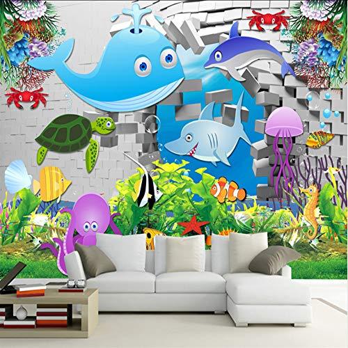 Cczxfcc 3D aangepaste cartoon behang wit baksteen fotobehang kinderen onderwaterwereld blad behang wooncultuur voor kinderkamer 300 cm x 210 cm.