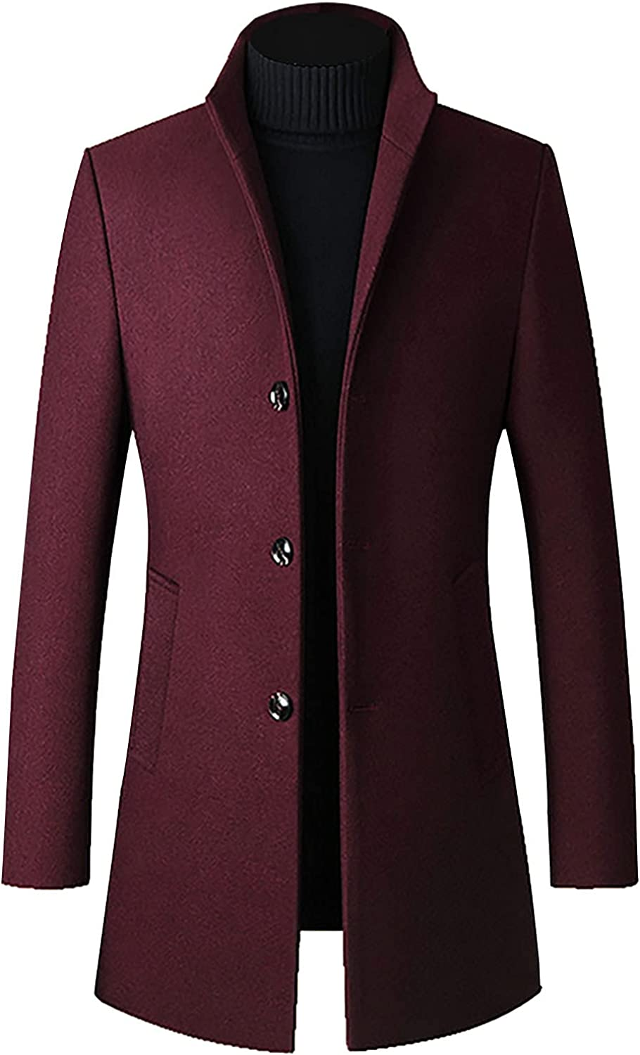 unisex Mens Trench Coat Wool Blend Single Winter Breasted Low price Pea Long