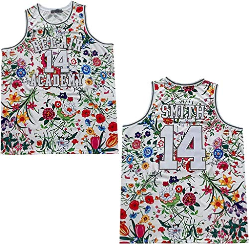 Rainbow Hawk Mens Fresh Prince of Bel Air Jersey 14 Smith Flowers Basketball Jersey (Fresh Flowers, L)