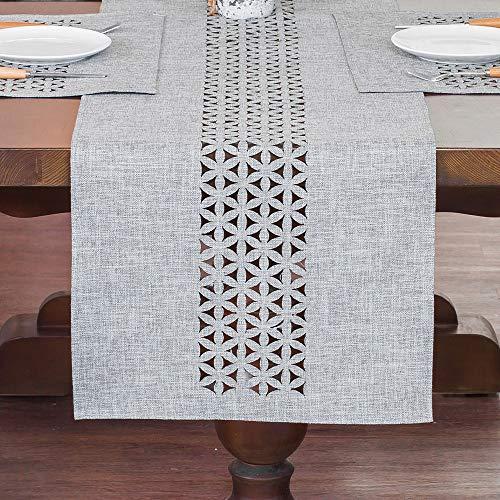 ARTABLE Manteles de lino gris y amarillo cortados a láser, ideales para...
