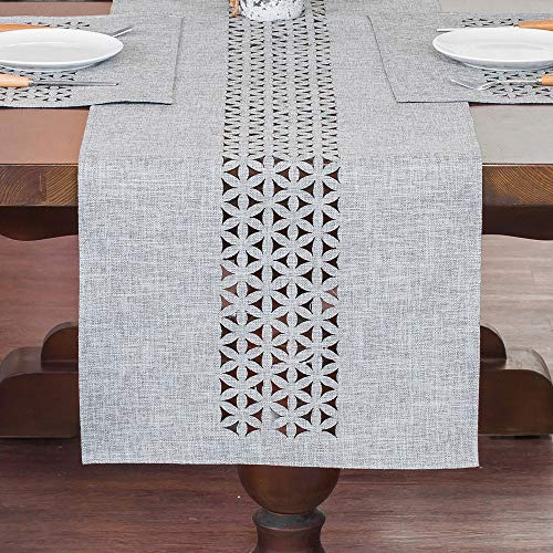 ARTABLE Rectangle Table Runners Fabric Home Garden Table Runner with Well-Trimmed Edge for Picnics Indoor and Outdoor Dining Holiday Long Tables (Gray, 16' x 84')