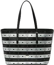 MCM Women's Silver Black Colorblock Coated Canvas ZipTop Medium Tote Bag mwp9axl66bk001