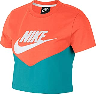 Nike Women's NSW HRTG Top SS, Blue(Cabana/Turf Orange/White309), X-Large
