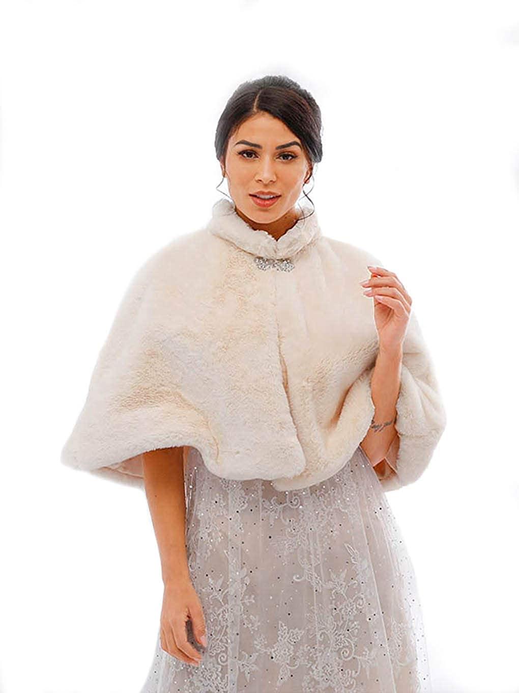 Yalice Women's Wedding Faux Fur Shawl and Wrap Bridal Fur Stole Cape Fur Scarf for Bride and Bridesmaids