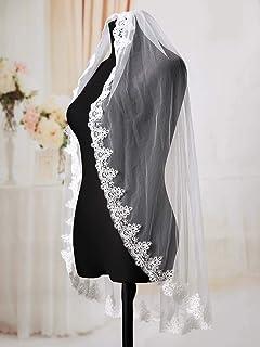 Ushiny - Velo da sposa con pettine in metallo bianco con bordo in pizzo, accessorio per capelli da donna, lunghezza del go...