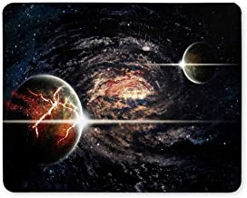 System Planets mouse pad, Gaming mouse pad,Mouse Pad Planets, Stars and Galaxies in Outer Space Mouse Mat Design Rubber Durable Computer Accessories Mouse Pads