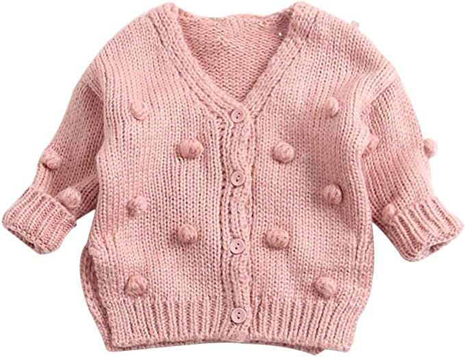 Lefyira Toddler Baby Girl Knit Cardigan Sweaters Open Front Pompom Knitwear Jacket Button Down Solid Knitted Outwear
