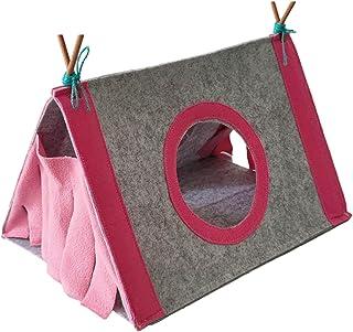 xiaohuangren Husdjur tält Hideout tält små djur gömställe råttor gömställe tipi tält för hamster hörntält trekantig kanin ...