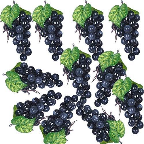 Dciustfhe 10 unidades de uvas costeras negras para decoración de casa, casa, fiestas, bodas, fotografía