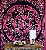 Guru-Shop Wandbehang, Wandtuch, Mandala, Tagesdecke Keltisch - Design 15, Rot, Baumwolle, 220x190x0,1 cm, Bettüberwurf, Sofa Überwurf