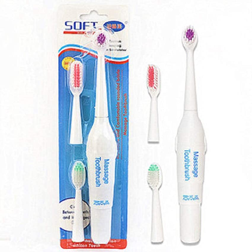 発疹スカートよろめくペット電動歯ブラシ犬猫電動歯ブラシ、バッテリーなし(ハンドルフォントはランダムに3色で送信されます)(ホワイト)